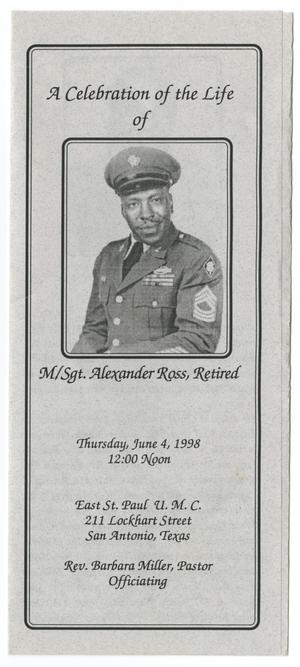 Primary view of object titled '[Funeral Program for Alexander Ross, June 4, 1998]'.