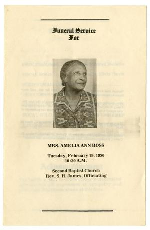 [Funeral Program for Amelia Ann Ross, February 19, 1980]