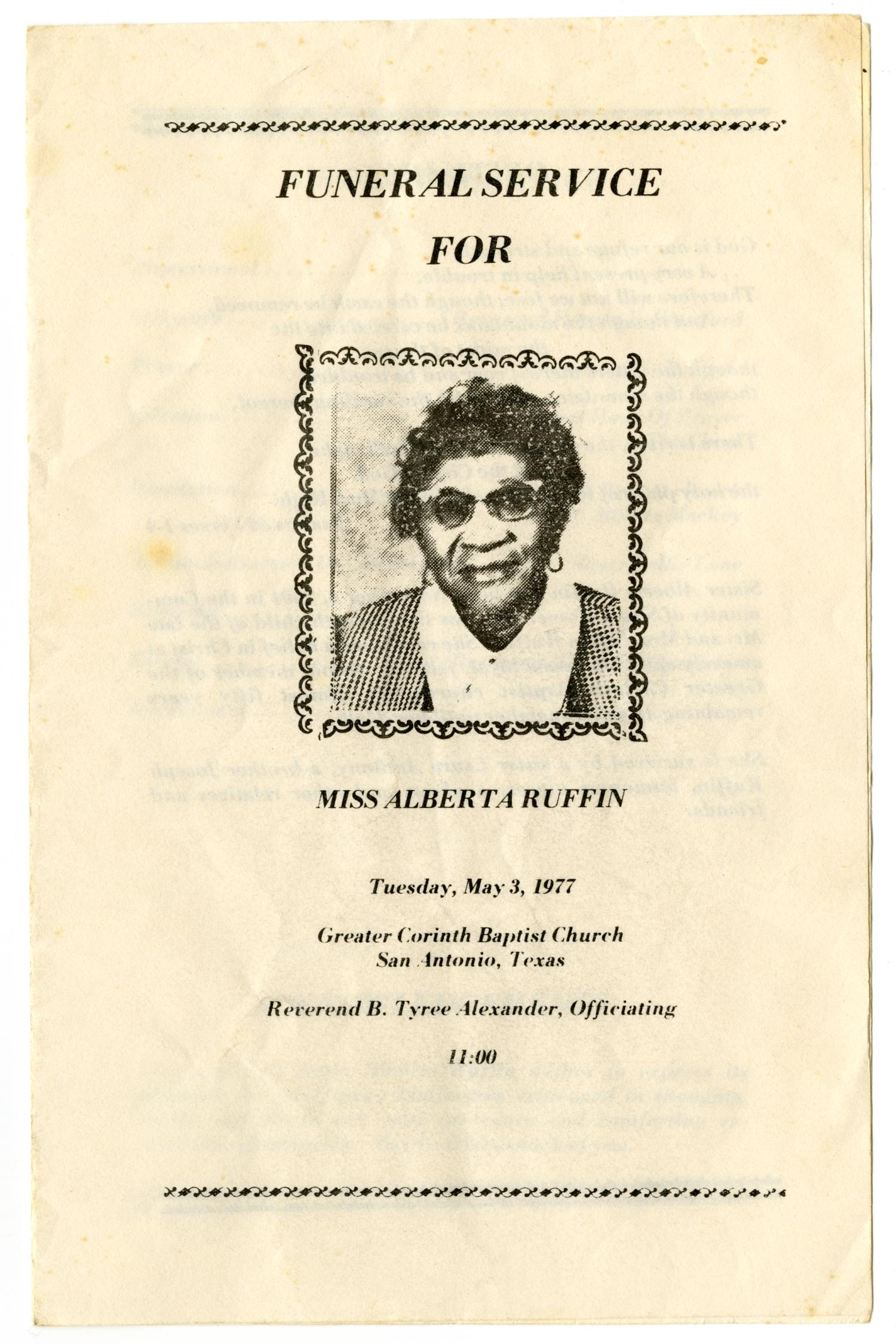[Funeral Program for Alberta Ruffin, May 3, 1977)                                                                                                      [Sequence #]: 1 of 3