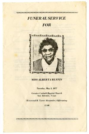 [Funeral Program for Alberta Ruffin, May 3, 1977)