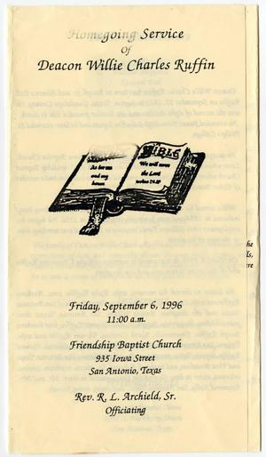 [Funeral Program for Willie Charles Ruffin, September 6, 1996]
