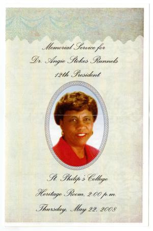 [Memorial Program for Angie Stokes Runnels, May 22, 2008]