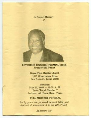 Primary view of object titled '[Funeral Program for Linwood Fleming Russ, May 22, 1986]'.
