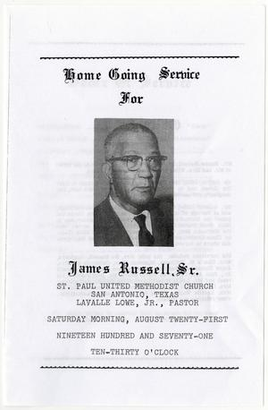 Primary view of object titled '[Funeral Program for James Russell, Sr., August 21, 1971]'.