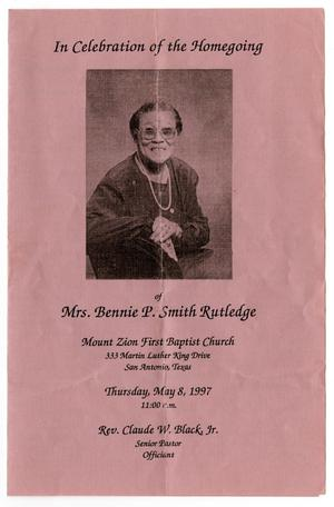 Primary view of object titled '[Funeral Program for Bennie P. Smith Rutledge, May 8, 1997]'.