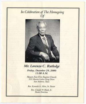 Primary view of object titled '[Funeral Program for Lorenzo C. Rutledge, December 29, 2000]'.