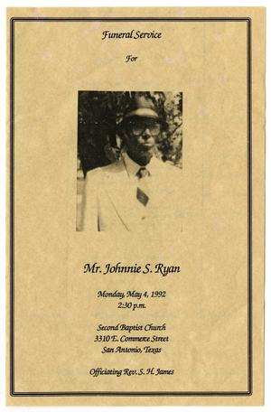 Primary view of object titled '[Funeral Program for Johnnie S. Ryan, May 4, 1992]'.