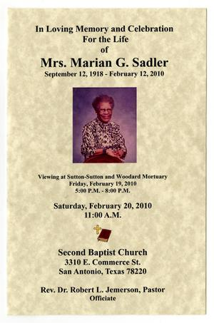 Primary view of object titled '[Funeral Program for Marian G. Sadler, February 20, 2010]'.