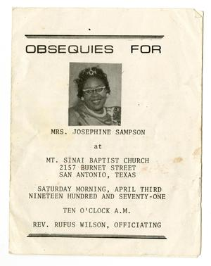 Primary view of object titled '[Funeral Program for Josephine Sampson]'.