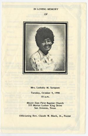 Primary view of object titled '[Funeral Program for Ladusky M. Sampson, October 9, 1990]'.