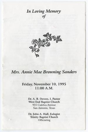 Primary view of object titled '[Funeral Program for Annie Mae Browning Sanders, November 10, 1995]'.