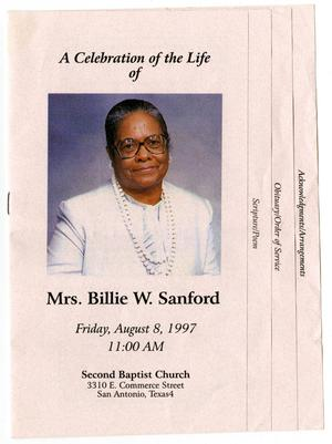 Primary view of object titled '[Funeral Program for Billie W. Sanford, August 8, 1997]'.