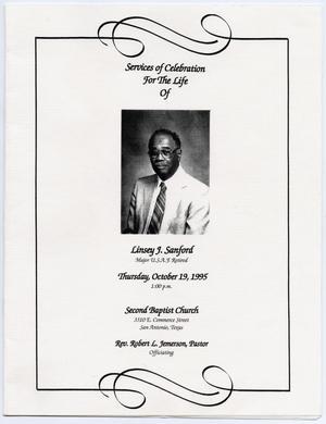 funeral program for linsey j sanford october 19 1995 the