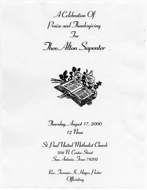 Primary view of object titled '[Funeral Program for Theo Alton Sapenter, August 17, 2000]'.