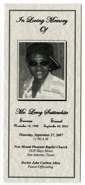 Primary view of object titled '[Funeral Program for Leroy Sattiewhite, September 27, 2007]'.
