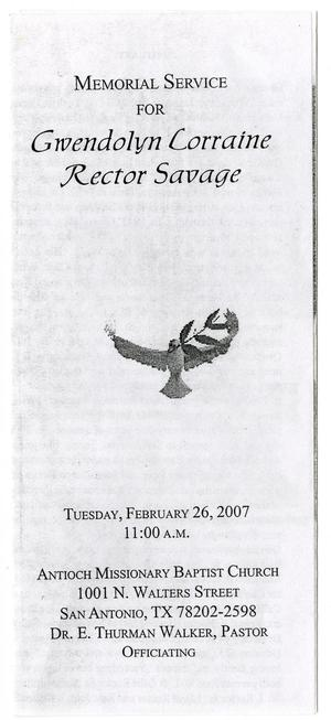 [Memorial Program for Gwendolyn Lorraine Rector Savage, February 26, 2007]