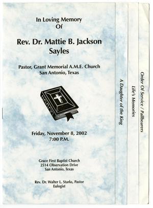 Primary view of object titled '[Funeral Program for Mattie B. Jackson Sayles, November 8, 2002]'.