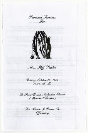 [Funeral Program for Iliff Scales, October 30, 1987]