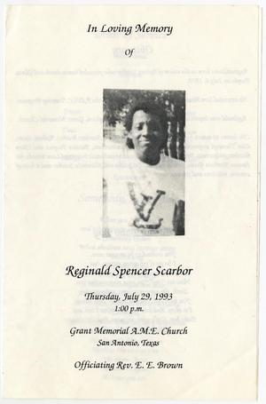 Primary view of object titled '[Funeral Program for Reginald Spencer Scarbor, July 29, 1993]'.