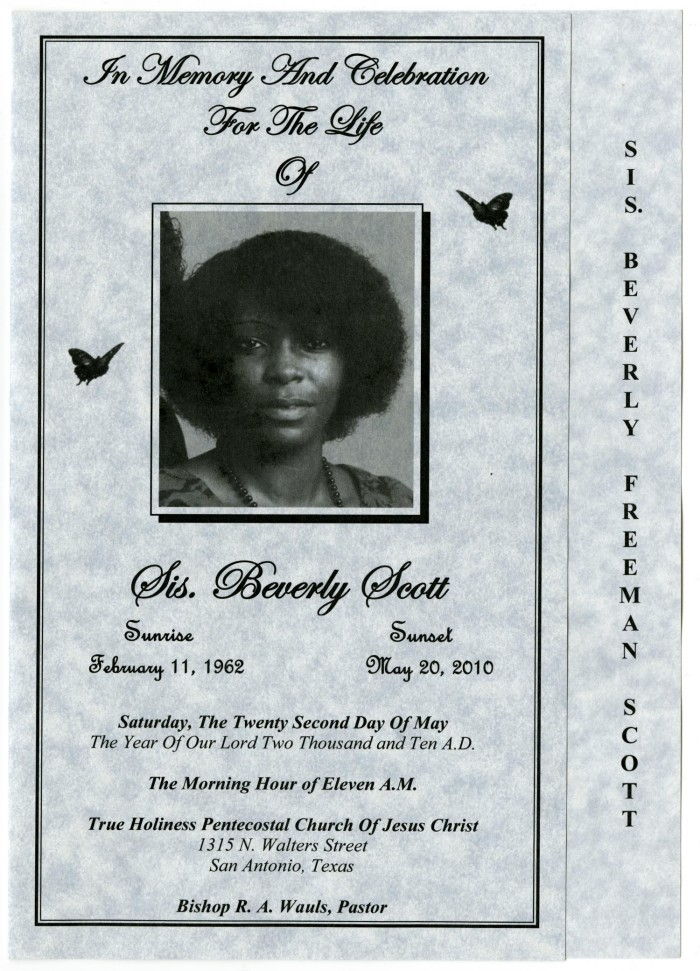 Primary view of object titled '[Funeral Program for Beverly Scott, May 22,
