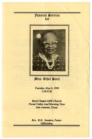 Primary view of object titled '[Funeral Program for Ethel Scott, May 8, 1990]'.
