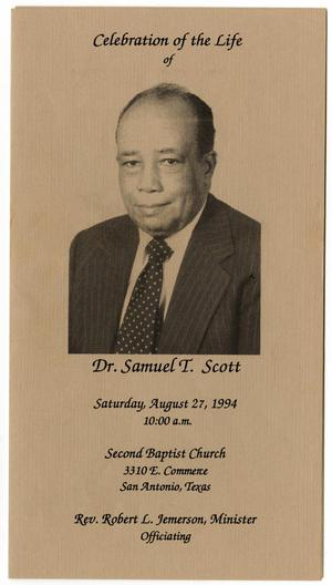 Primary view of object titled '[Funeral Program for Samuel T. Scott, August 27, 1994]'.