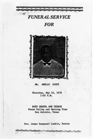 Primary view of object titled '[Funeral Program for Shelly Scott, May 18, 1978]'.