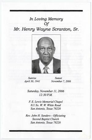 Primary view of object titled '[Funeral Program for Henry Wayne Scranton, Sr., November 11, 2006]'.