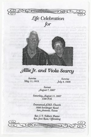 Primary view of object titled '[Funeral Program for Allie Searcy, Jr. and Viola Searcy, August 11, 2007]'.