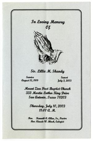 Primary view of object titled '[Funeral Program for Lillie M. Shandy, July 10, 2003]'.