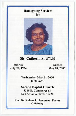 Primary view of object titled '[Funeral Program for Catherin Sheffield, May 24, 2006]'.