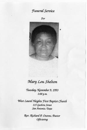 Primary view of object titled '[Funeral Program for Mary Lou Shelton, November 9, 1993]'.