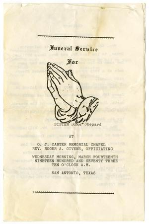 Primary view of object titled '[Funeral Program for Dora Shepard, March 14, 1973]'.