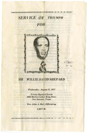 Primary view of object titled '[Funeral Program for Willie David Shepard, August 17, 1977]'.