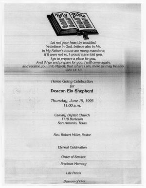 Primary view of object titled '[Funeral Program for Deacon Elo Shepherd, June 15, 1995]'.