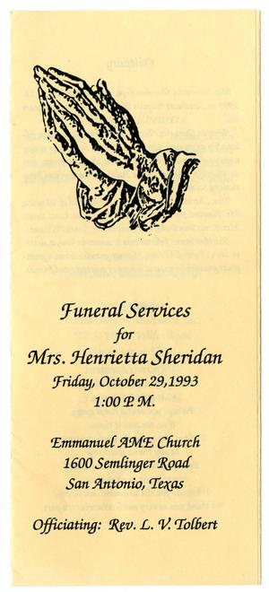 Primary view of object titled '[Funeral Program for Henrietta Sheridan, October 29, 1993]'.