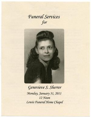 Primary view of object titled '[Funeral Program for Genevieve S. Sherrer, January 31, 2011]'.