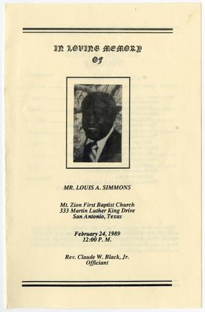 Primary view of object titled '[Funeral Program for Louis A. Simmons, February 24, 1989]'.
