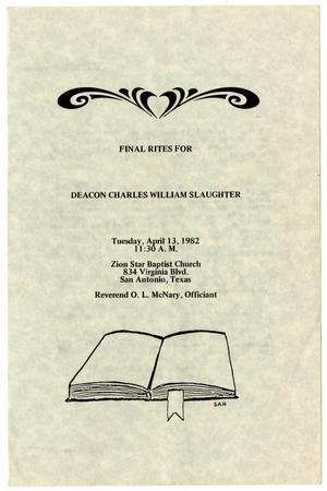 Primary view of object titled '[Funeral Program for Charles William Slaughter, April 13, 1982]'.