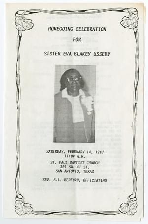 Primary view of object titled '[Funeral Program for Eva Blakey Ussery, February 14, 1987]'.