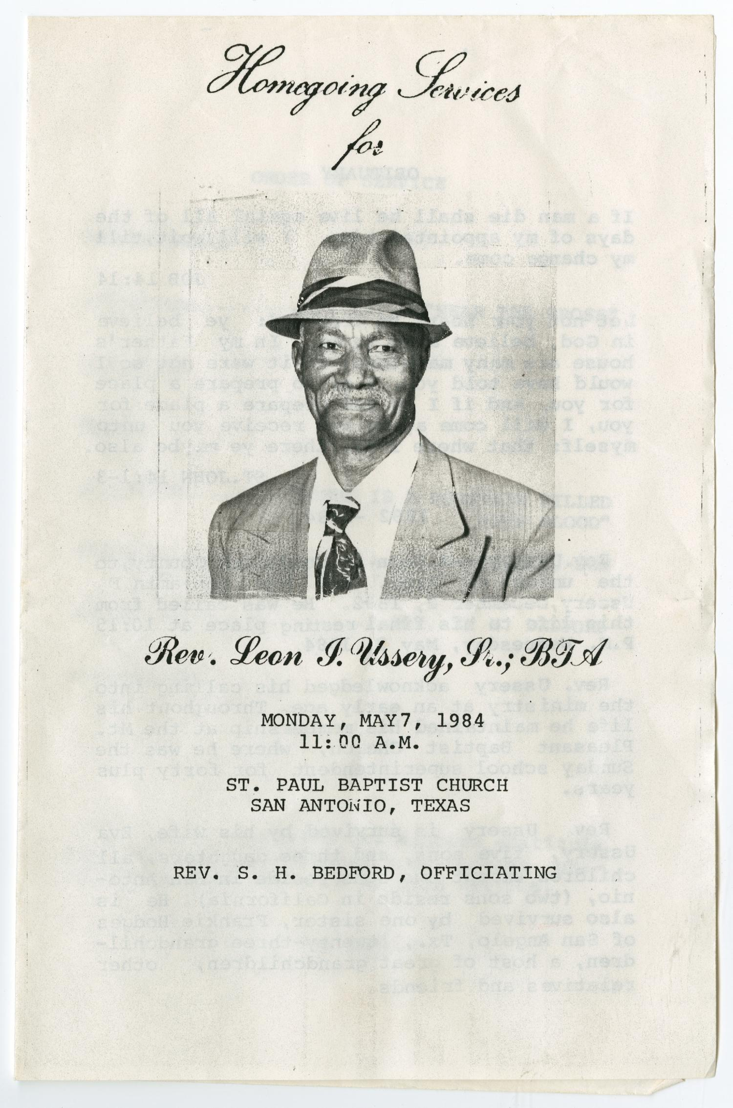 [Funeral Program for Rev. Leon J. Ussery, Sr., May 7, 1984]                                                                                                      [Sequence #]: 1 of 3