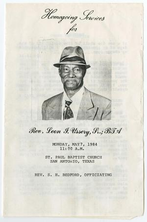 Primary view of object titled '[Funeral Program for Rev. Leon J. Ussery, Sr., May 7, 1984]'.