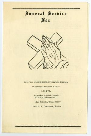 [Funeral Program for Deacon Norris Wright Ussery, October 8, 1975]