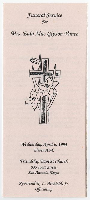 Primary view of object titled '[Funeral Program for Eula Mae Gipson Vance, April 6, 1994]'.