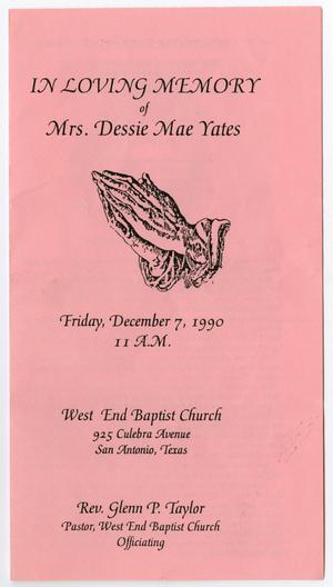 Primary view of object titled '[Funeral Program for Dessie Mae Yates, December 7, 1990]'.