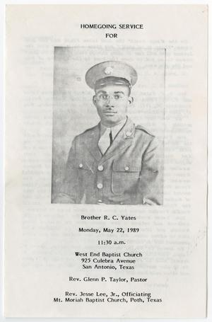 Primary view of object titled '[Funeral Program for R. C. Yates, Jr., May 2, 1989]'.