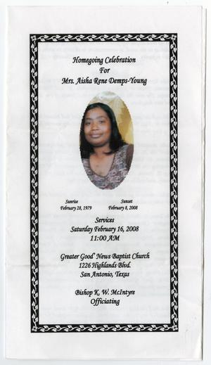 Primary view of object titled '[Funeral Program for Aisha Rene Demps-Young, February 16, 2008]'.