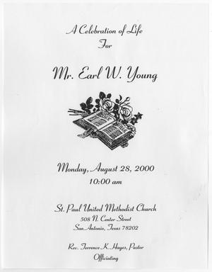 Primary view of object titled '[Funeral Program for Earl W. Young, August 28, 2000]'.