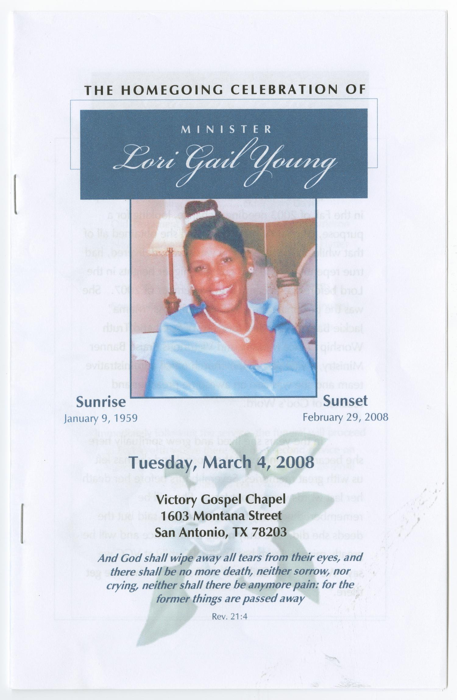 [Funeral Program for Lori Gail Young, March 4, 2008]                                                                                                      [Sequence #]: 1 of 5