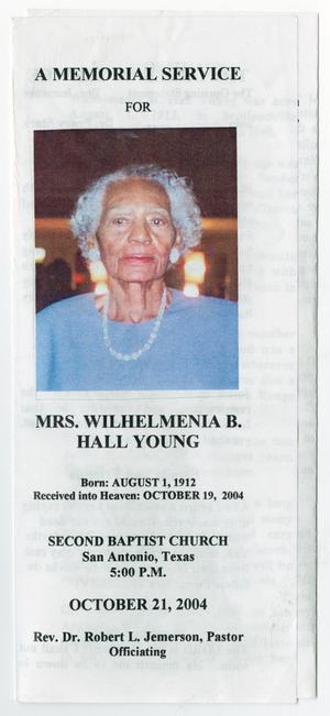 Primary view of object titled '[Funeral Program for Wilhelmenia B. Hall Young, October 21, 2004]'.